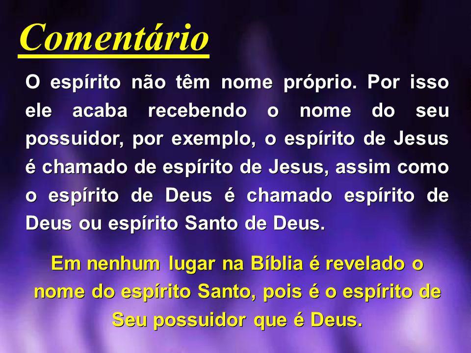 Comentário O espírito não têm nome próprio. Por isso ele acaba recebendo o nome do seu possuidor, por exemplo, o espírito de Jesus é chamado de espíri