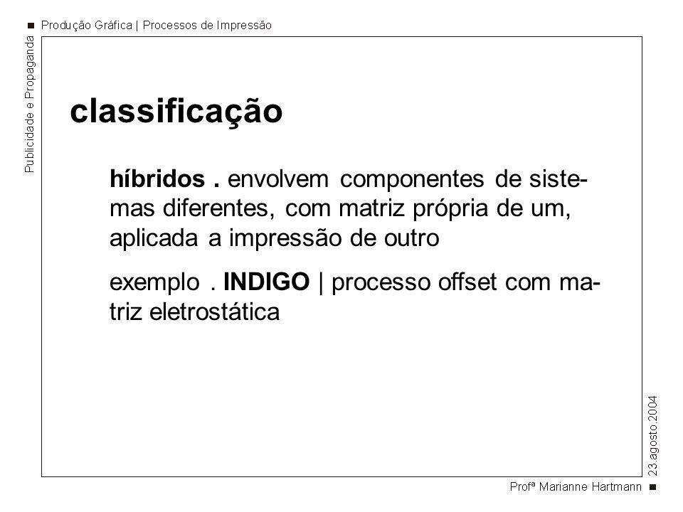 classificação híbridos. envolvem componentes de siste- mas diferentes, com matriz própria de um, aplicada a impressão de outro exemplo. INDIGO   proce