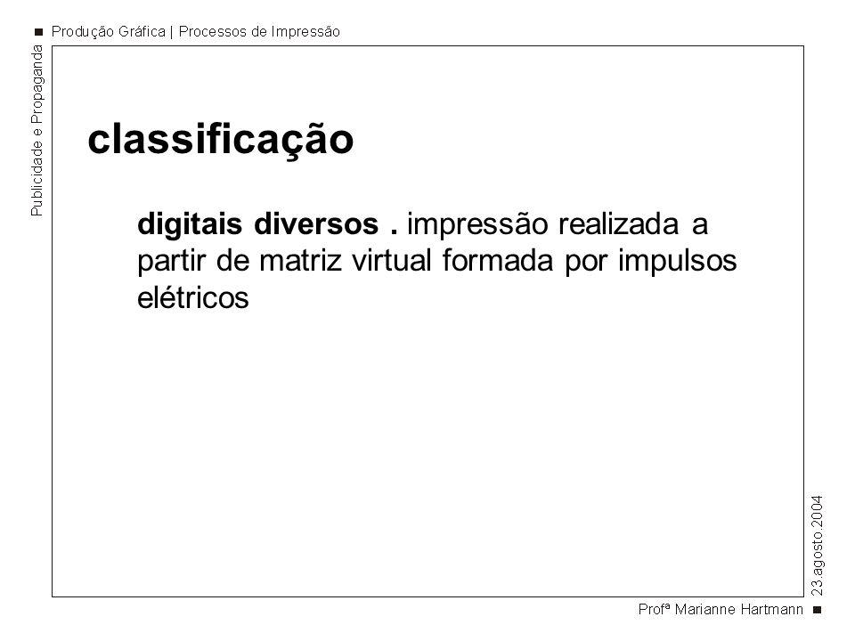 classificação digitais diversos. impressão realizada a partir de matriz virtual formada por impulsos elétricos