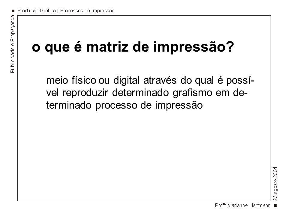 o que é matriz de impressão? meio físico ou digital através do qual é possí- vel reproduzir determinado grafismo em de- terminado processo de impressã