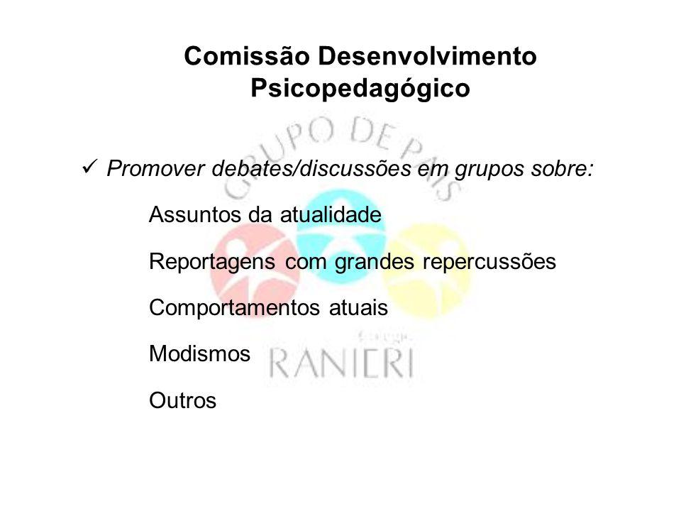 Comissão Desenvolvimento Psicopedagógico Promover debates/discussões em grupos sobre: Assuntos da atualidade Reportagens com grandes repercussões Comp