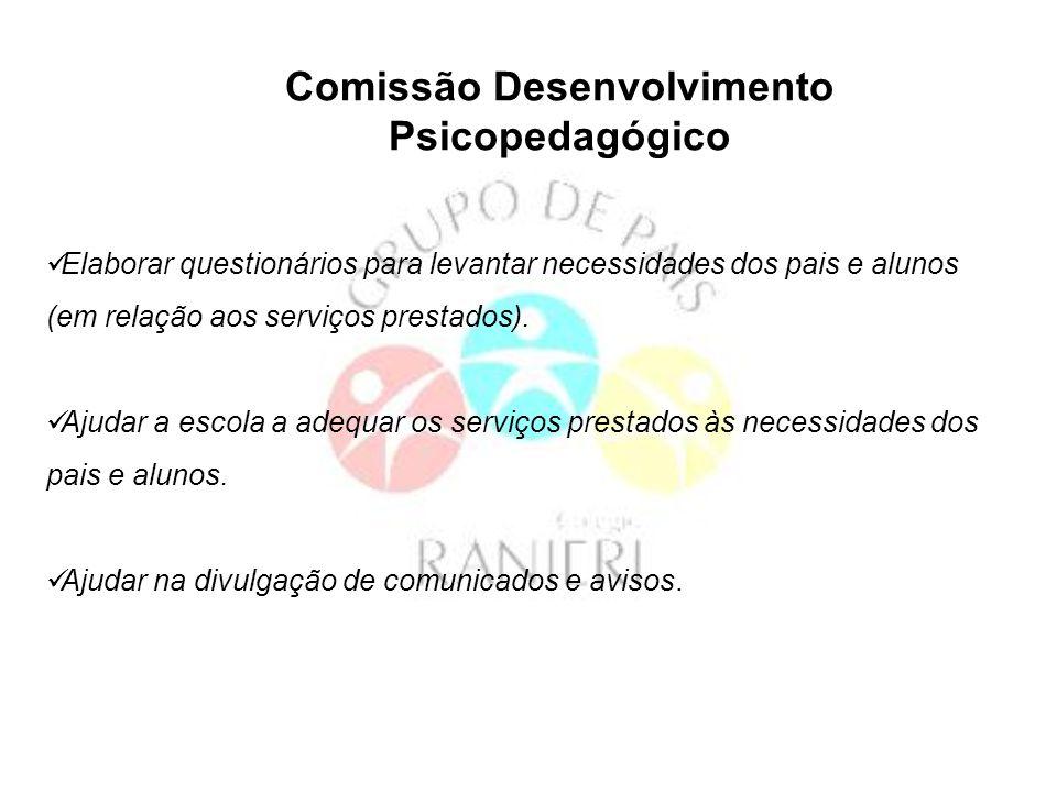 Comissão Eventos Organizar passeios para pais, alunos e funcionários.