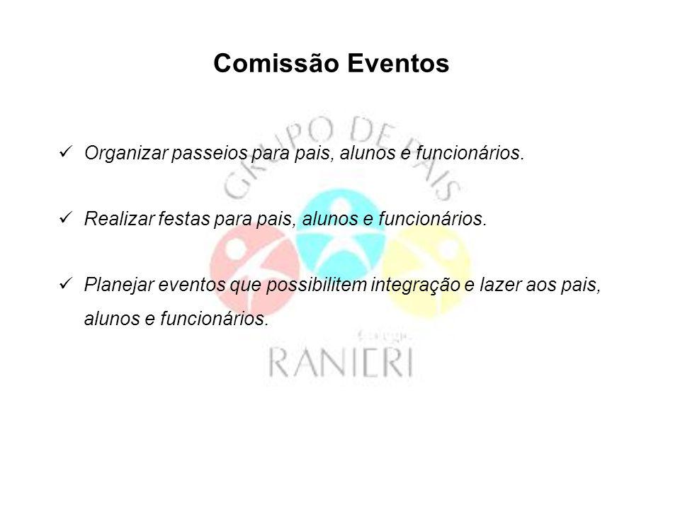 Comissão Eventos Organizar passeios para pais, alunos e funcionários. Realizar festas para pais, alunos e funcionários. Planejar eventos que possibili