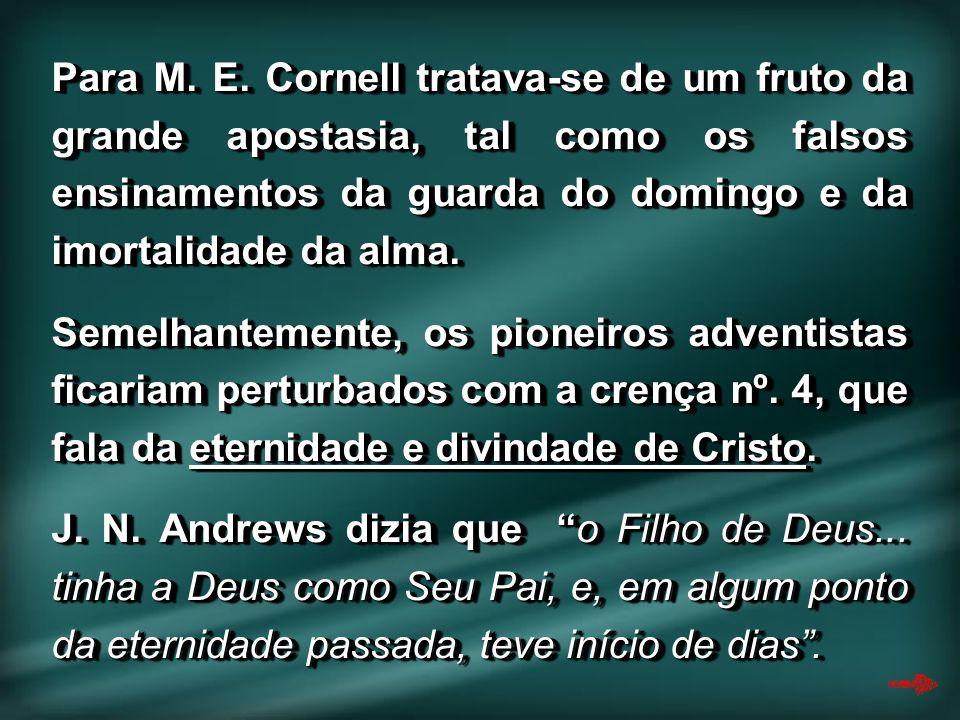 Para M. E. Cornell tratava-se de um fruto da grande apostasia, tal como os falsos ensinamentos da guarda do domingo e da imortalidade da alma. Semelha
