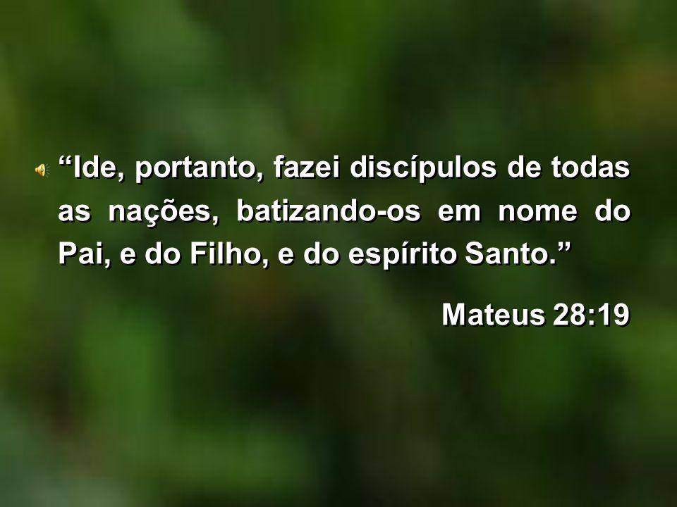 Ide, portanto, fazei discípulos de todas as nações, batizando-os em nome do Pai, e do Filho, e do espírito Santo. Mateus 28:19 Ide, portanto, fazei di