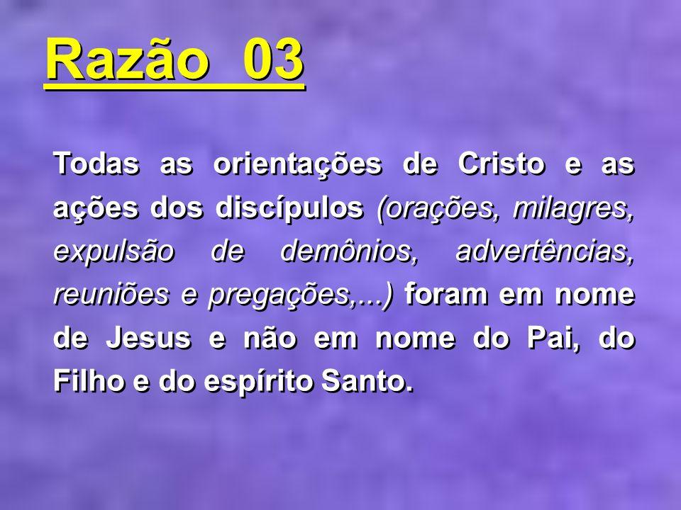 Todas as orientações de Cristo e as ações dos discípulos (orações, milagres, expulsão de demônios, advertências, reuniões e pregações,...) foram em no