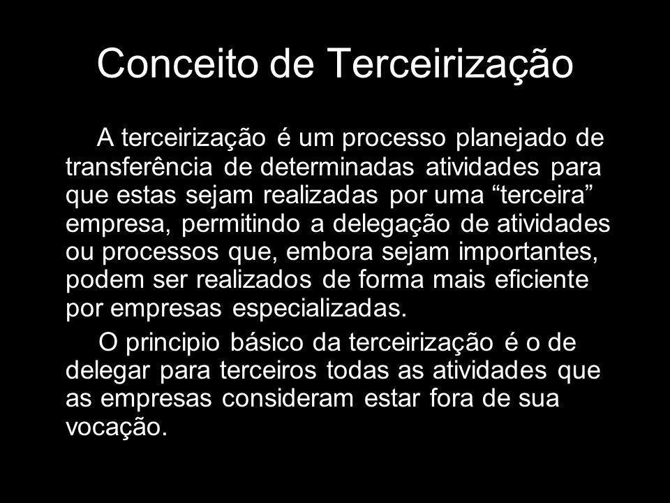 Conceito de Terceirização A terceirização é um processo planejado de transferência de determinadas atividades para que estas sejam realizadas por uma
