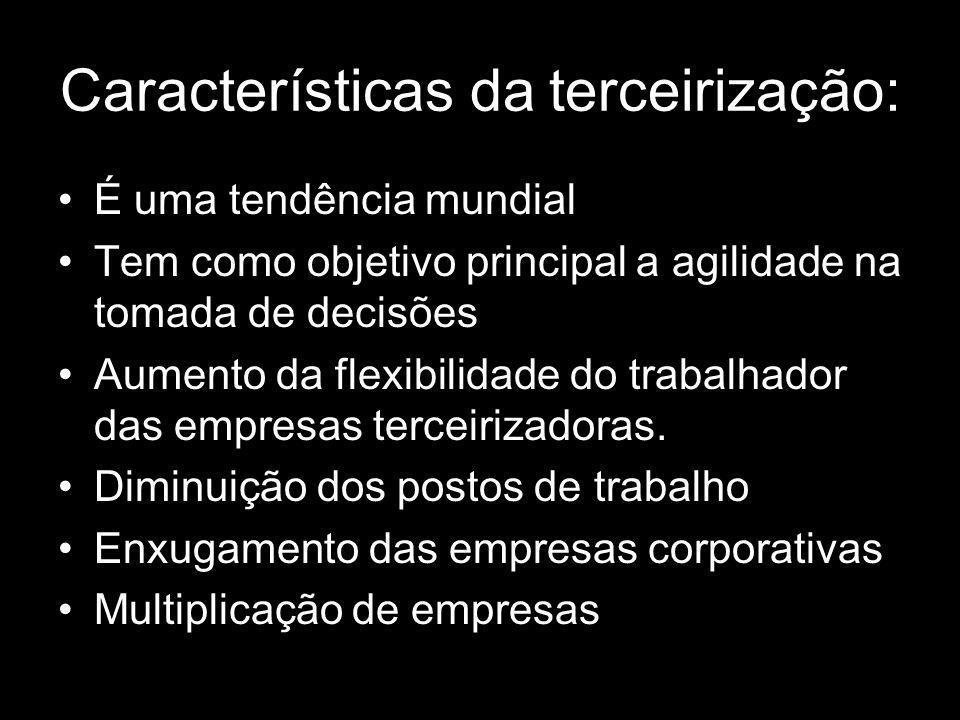 Características da terceirização: É uma tendência mundial Tem como objetivo principal a agilidade na tomada de decisões Aumento da flexibilidade do tr