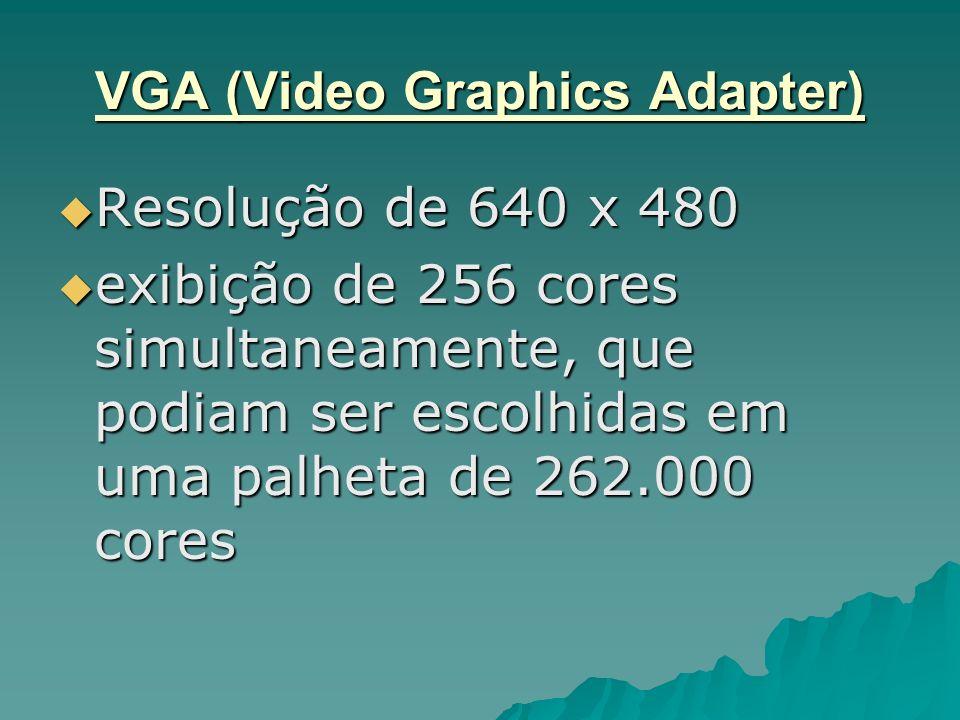 VGA (Video Graphics Adapter) Resolução de 640 x 480 Resolução de 640 x 480 exibição de 256 cores simultaneamente, que podiam ser escolhidas em uma pal