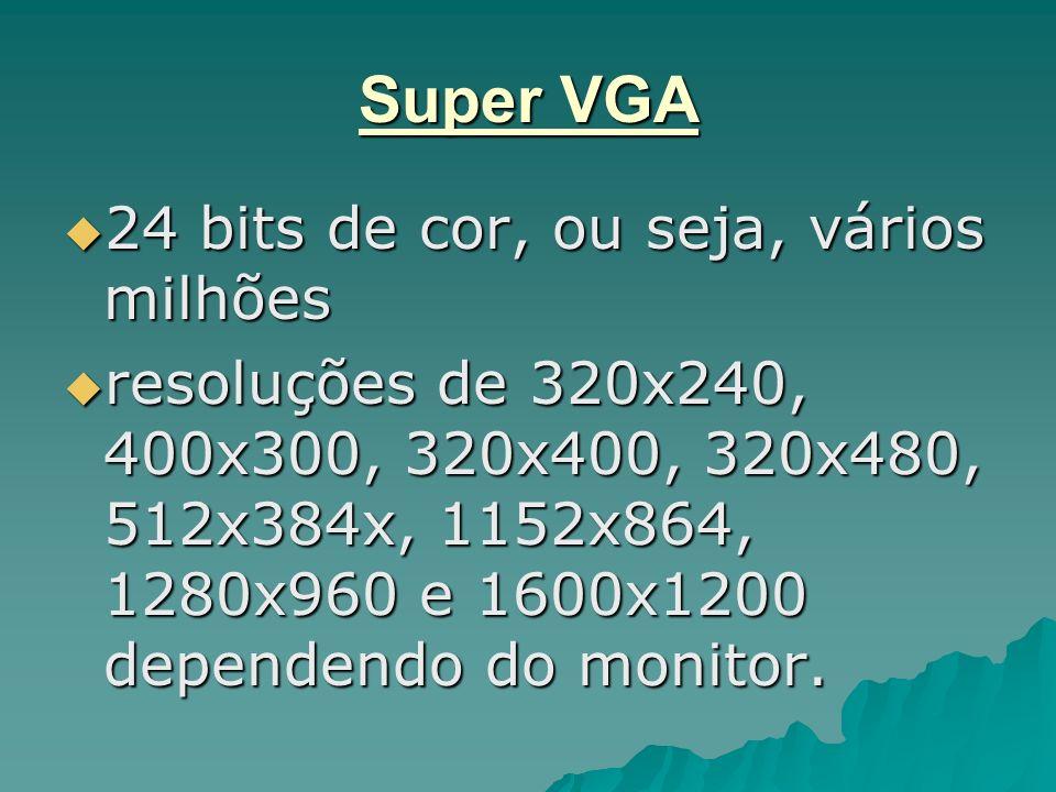 Super VGA 24 bits de cor, ou seja, vários milhões 24 bits de cor, ou seja, vários milhões resoluções de 320x240, 400x300, 320x400, 320x480, 512x384x,