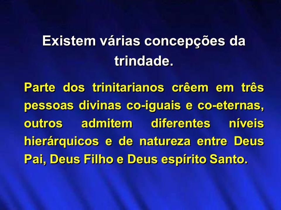 Existem várias concepções da trindade. Parte dos trinitarianos crêem em três pessoas divinas co-iguais e co-eternas, outros admitem diferentes níveis