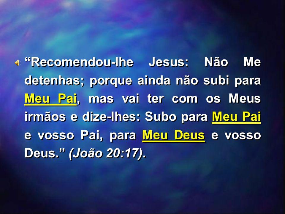 Recomendou-lhe Jesus: Não Me detenhas; porque ainda não subi para Meu Pai, mas vai ter com os Meus irmãos e dize-lhes: Subo para Meu Pai e vosso Pai,