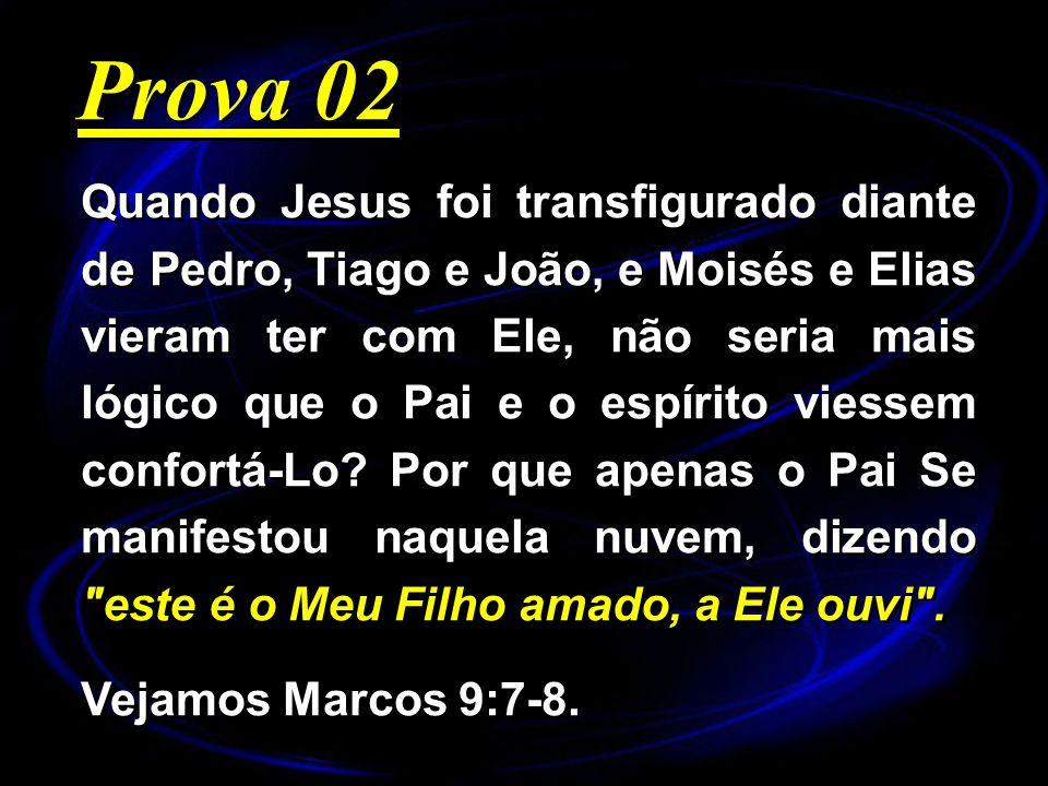 Quando Jesus foi transfigurado diante de Pedro, Tiago e João, e Moisés e Elias vieram ter com Ele, não seria mais lógico que o Pai e o espírito viesse