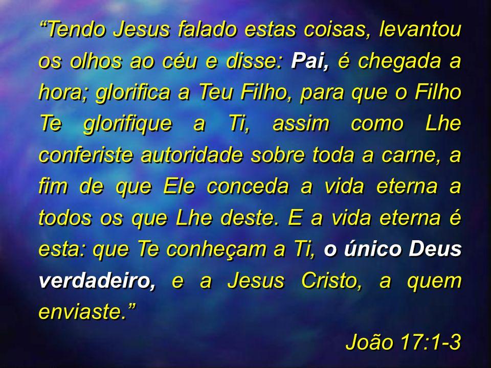Tendo Jesus falado estas coisas, levantou os olhos ao céu e disse: Pai, é chegada a hora; glorifica a Teu Filho, para que o Filho Te glorifique a Ti,