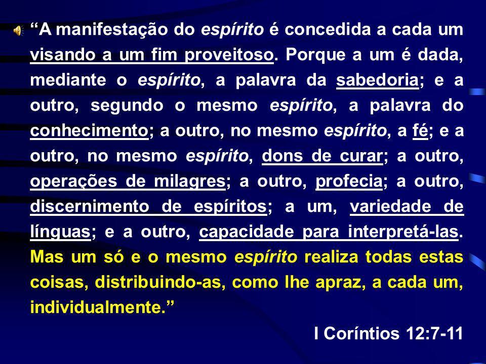 A manifestação do espírito é concedida a cada um visando a um fim proveitoso. Porque a um é dada, mediante o espírito, a palavra da sabedoria; e a out