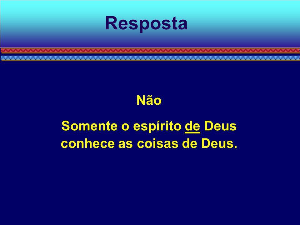 Não Somente o espírito de Deus conhece as coisas de Deus. Resposta