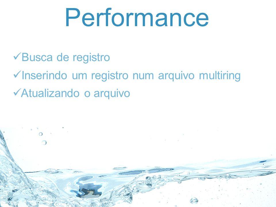 Performance Busca de registro Inserindo um registro num arquivo multiring Atualizando o arquivo