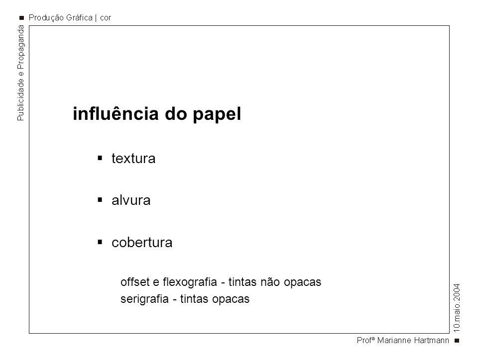 influência do papel textura alvura cobertura offset e flexografia - tintas não opacas serigrafia - tintas opacas