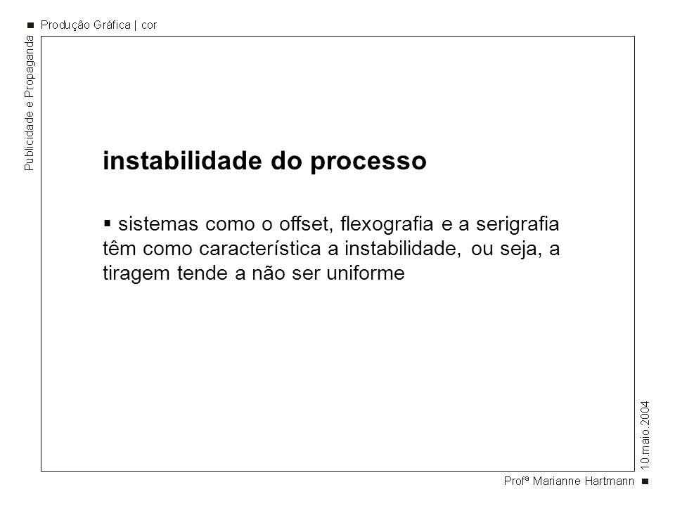 instabilidade do processo sistemas como o offset, flexografia e a serigrafia têm como característica a instabilidade, ou seja, a tiragem tende a não ser uniforme