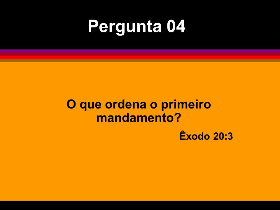 O que ordena o primeiro mandamento? Êxodo 20:3 Pergunta 04
