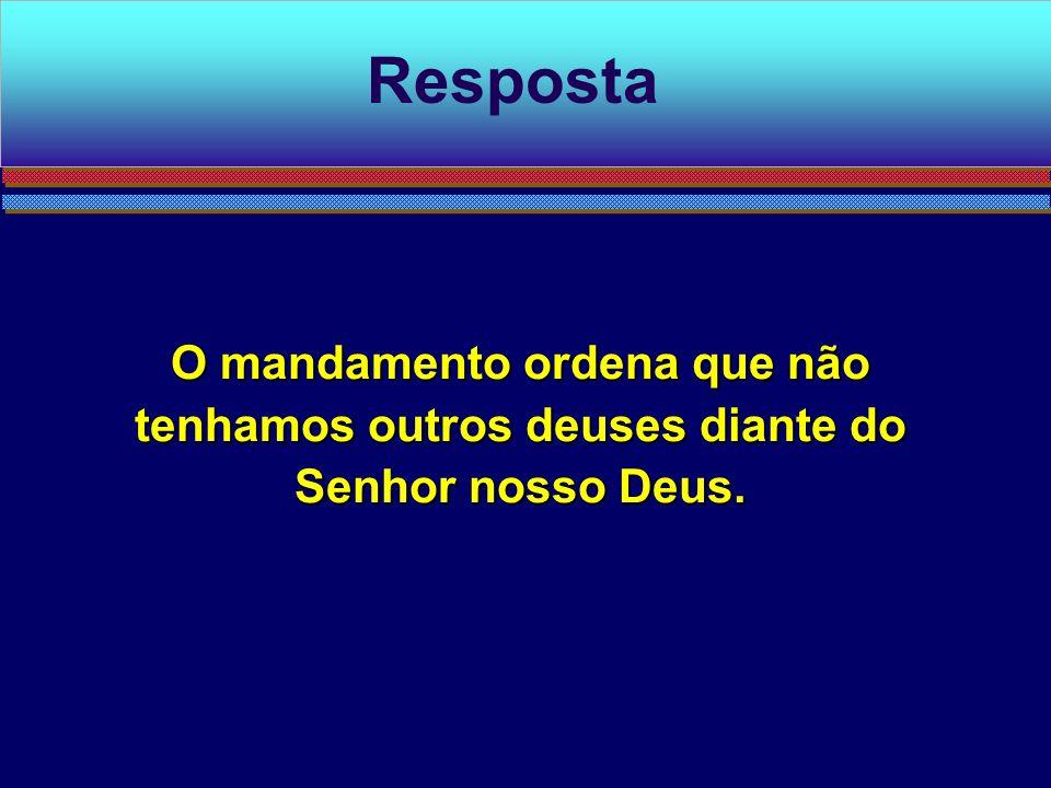 O mandamento ordena que não tenhamos outros deuses diante do Senhor nosso Deus. Resposta