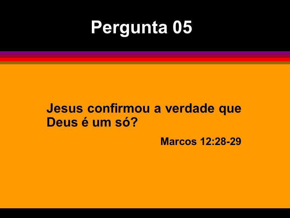 Jesus confirmou a verdade que Deus é um só? Marcos 12:28-29 Pergunta 05