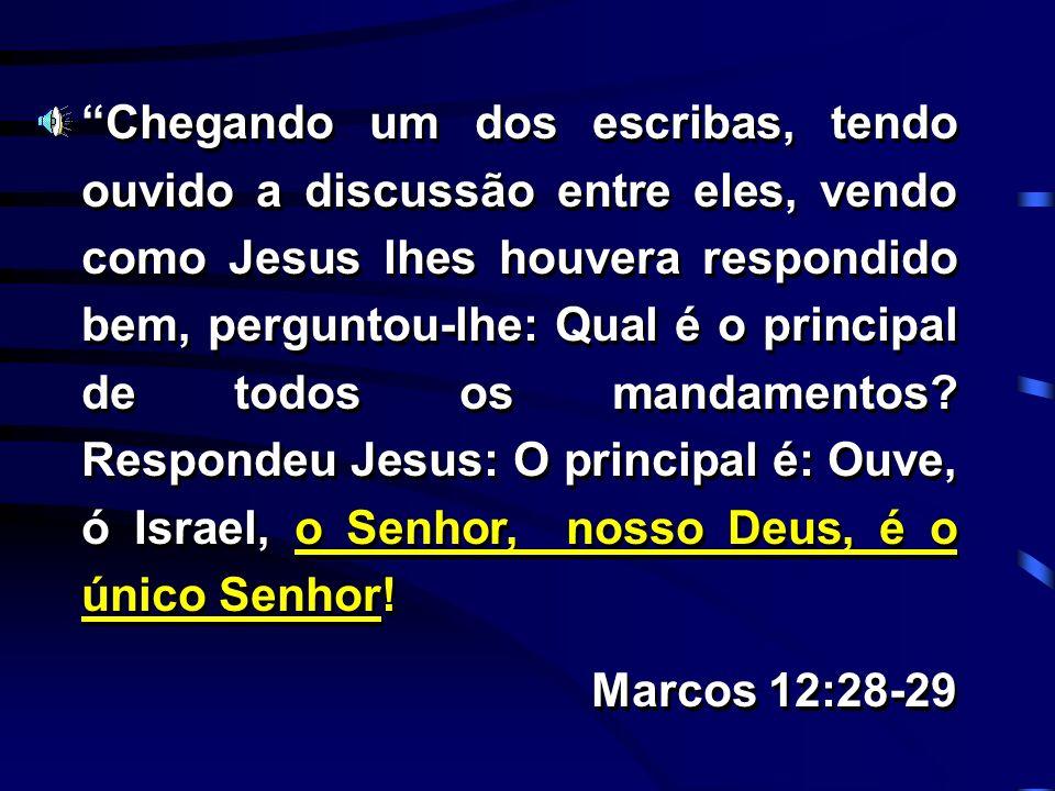 Chegando um dos escribas, tendo ouvido a discussão entre eles, vendo como Jesus lhes houvera respondido bem, perguntou-lhe: Qual é o principal de todo