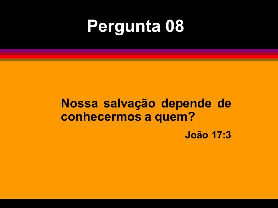 Nossa salvação depende de conhecermos a quem? João 17:3 Pergunta 08