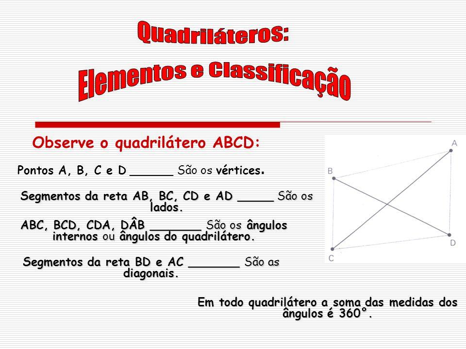 Observe o quadrilátero ABCD: Segmentos da reta AB, BC, CD e AD _____ São os lados. ABC, BCD, CDA, DÂB _______ São os ângulos internos ou ângulos do qu