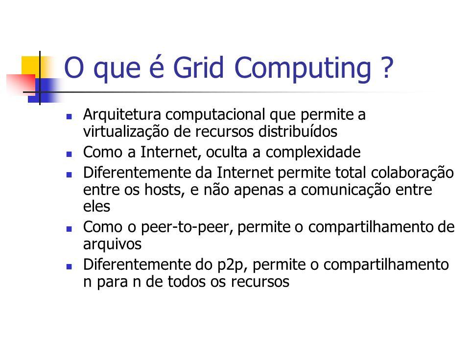 O que é Grid Computing ? Arquitetura computacional que permite a virtualização de recursos distribuídos Como a Internet, oculta a complexidade Diferen