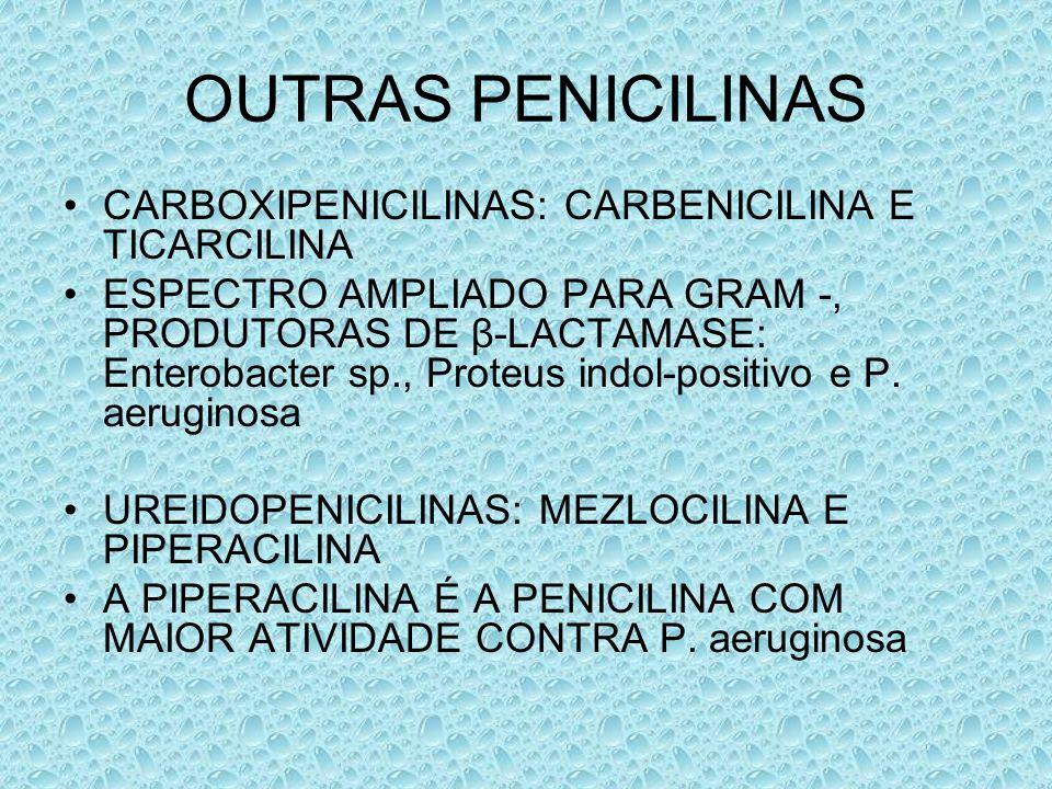 OUTRAS PENICILINAS CARBOXIPENICILINAS: CARBENICILINA E TICARCILINA ESPECTRO AMPLIADO PARA GRAM -, PRODUTORAS DE β-LACTAMASE: Enterobacter sp., Proteus