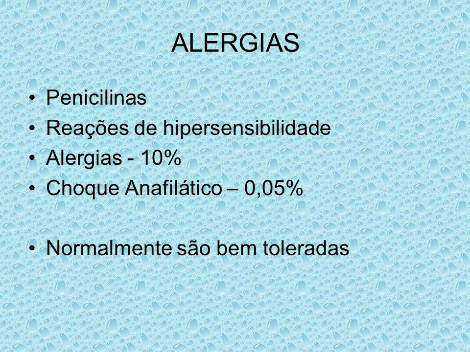 ALERGIAS Penicilinas Reações de hipersensibilidade Alergias - 10% Choque Anafilático – 0,05% Normalmente são bem toleradas