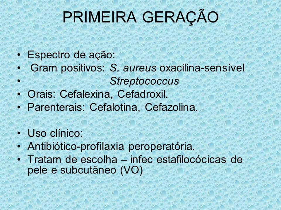 PRIMEIRA GERAÇÃO Espectro de ação: Gram positivos: S. aureus oxacilina-sensível Streptococcus Orais: Cefalexina, Cefadroxil. Parenterais: Cefalotina,