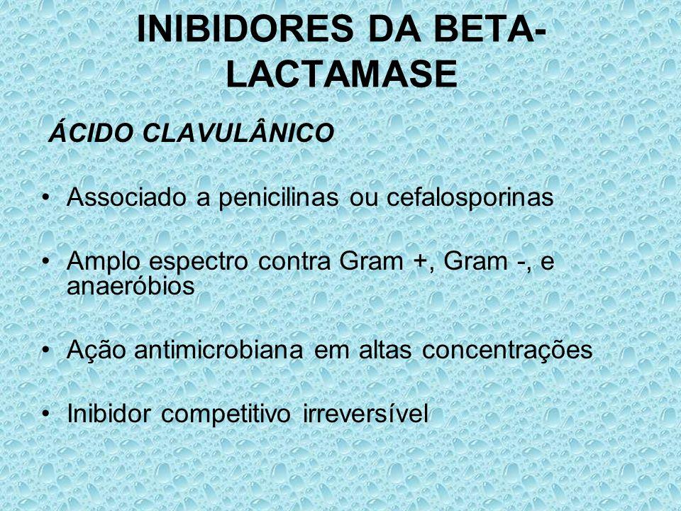 INIBIDORES DA BETA- LACTAMASE ÁCIDO CLAVULÂNICO Associado a penicilinas ou cefalosporinas Amplo espectro contra Gram +, Gram -, e anaeróbios Ação anti