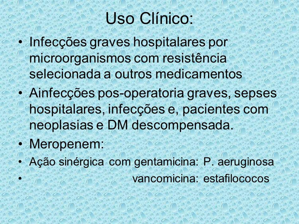 Uso Clínico: Infecções graves hospitalares por microorganismos com resistência selecionada a outros medicamentos Ainfecções pos-operatoria graves, sep