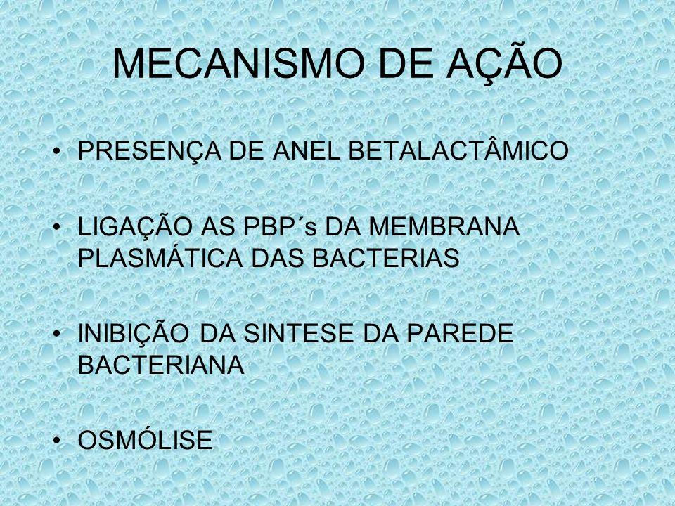 MECANISMO DE AÇÃO PRESENÇA DE ANEL BETALACTÂMICO LIGAÇÃO AS PBP´s DA MEMBRANA PLASMÁTICA DAS BACTERIAS INIBIÇÃO DA SINTESE DA PAREDE BACTERIANA OSMÓLI