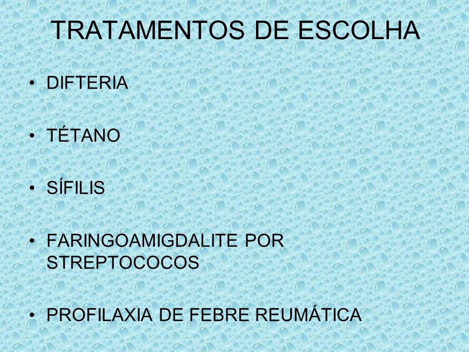 TRATAMENTOS DE ESCOLHA DIFTERIA TÉTANO SÍFILIS FARINGOAMIGDALITE POR STREPTOCOCOS PROFILAXIA DE FEBRE REUMÁTICA