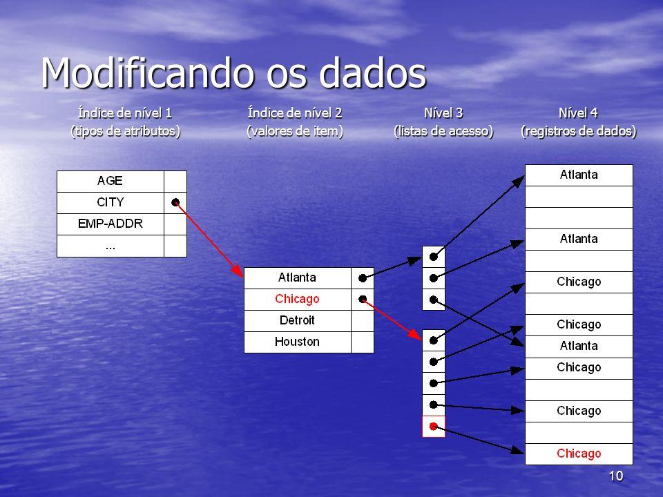 10 Modificando os dados Índice de nível 1 (tipos de atributos) Índice de nível 2 (valores de item) Nível 3 (listas de acesso) Nível 4 (registros de da