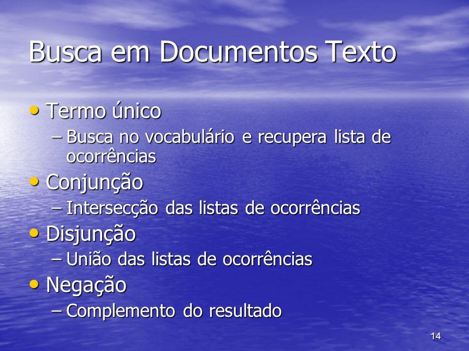 14 Busca em Documentos Texto Termo único Termo único –Busca no vocabulário e recupera lista de ocorrências Conjunção Conjunção –Intersecção das listas