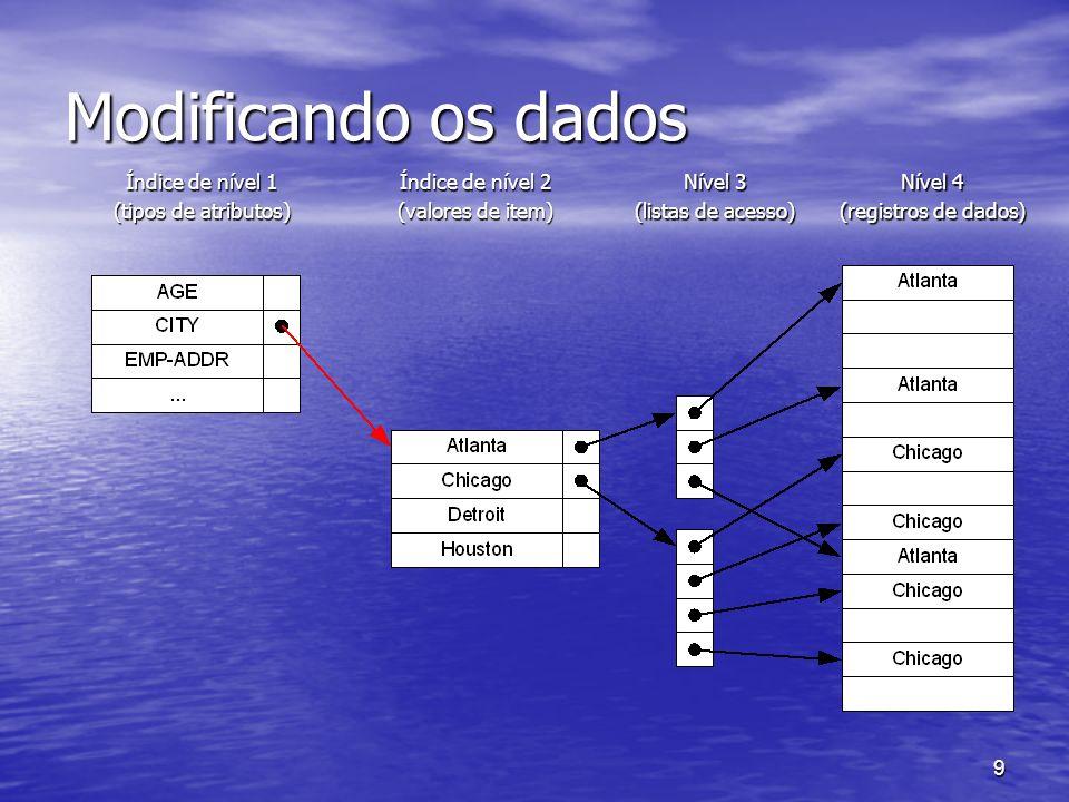9 Modificando os dados Índice de nível 1 (tipos de atributos) Índice de nível 2 (valores de item) Nível 3 (listas de acesso) Nível 4 (registros de dad