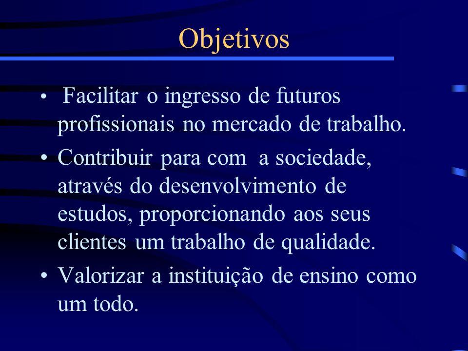 Facilitar o ingresso de futuros profissionais no mercado de trabalho. Contribuir para com a sociedade, através do desenvolvimento de estudos, proporci