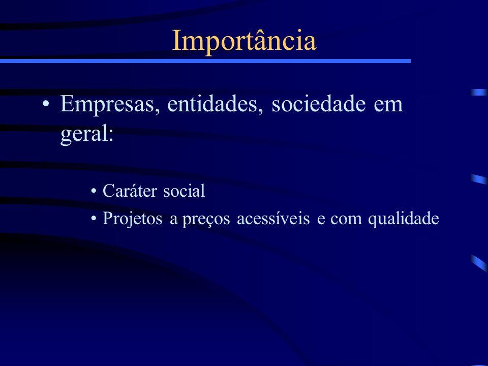 Empresas, entidades, sociedade em geral: Caráter social Projetos a preços acessíveis e com qualidade Importância