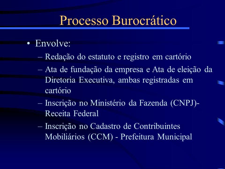 Processo Burocrático Envolve: –Redação do estatuto e registro em cartório –Ata de fundação da empresa e Ata de eleição da Diretoria Executiva, ambas r