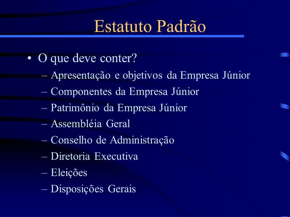 Estatuto Padrão O que deve conter? –Apresentação e objetivos da Empresa Júnior –Componentes da Empresa Júnior –Patrimônio da Empresa Júnior –Assembléi