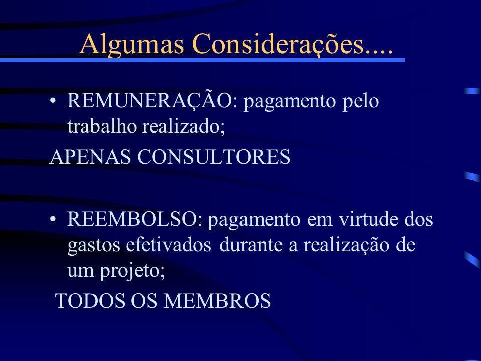 Algumas Considerações.... REMUNERAÇÃO: pagamento pelo trabalho realizado; APENAS CONSULTORES REEMBOLSO: pagamento em virtude dos gastos efetivados dur