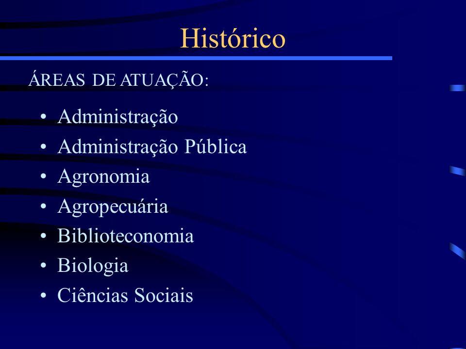 Administração Administração Pública Agronomia Agropecuária Biblioteconomia Biologia Ciências Sociais Histórico ÁREAS DE ATUAÇÃO: