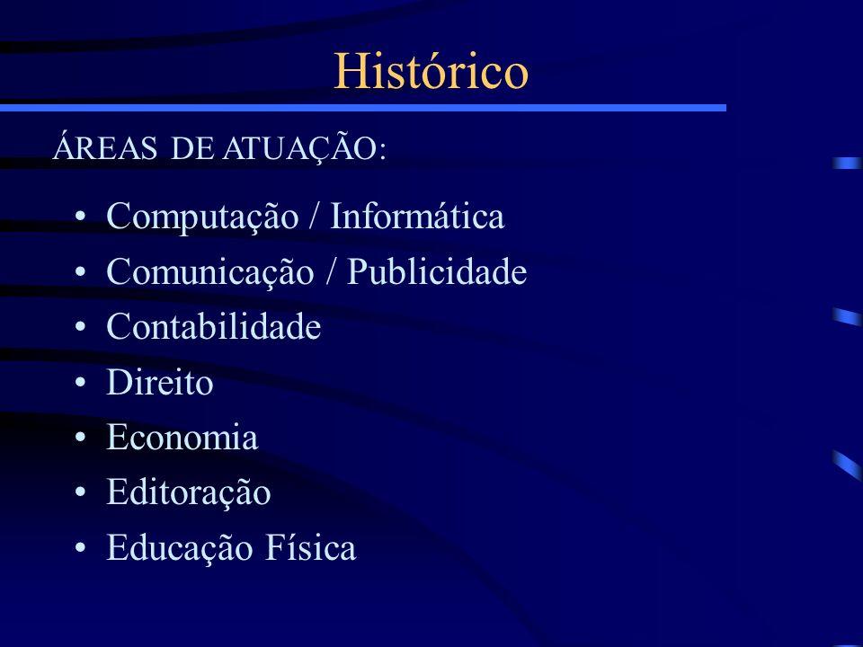 Computação / Informática Comunicação / Publicidade Contabilidade Direito Economia Editoração Educação Física Histórico ÁREAS DE ATUAÇÃO: