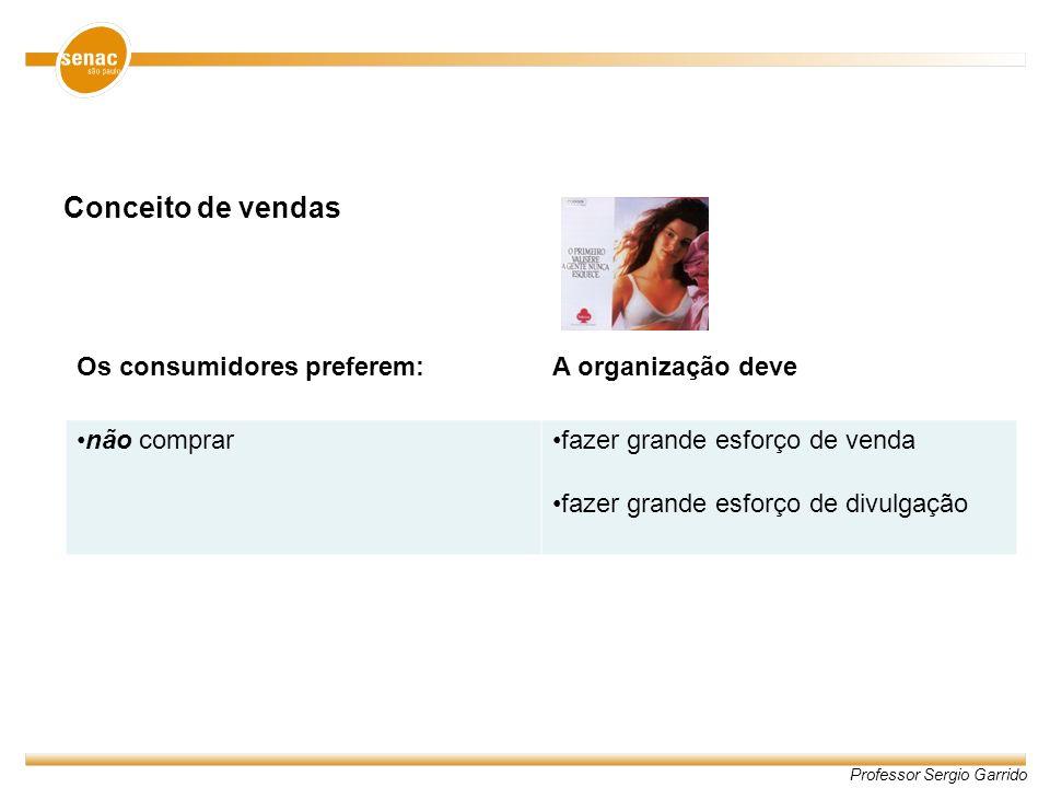 Professor Sergio Garrido Conceito de vendas Os consumidores preferem:A organização deve não comprarfazer grande esforço de venda fazer grande esforço