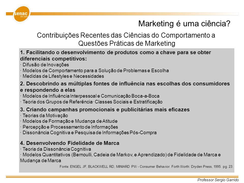Professor Sergio Garrido Marketing é uma ciência? Contribuições Recentes das Ciências do Comportamento a Questões Práticas de Marketing 1. Facilitando