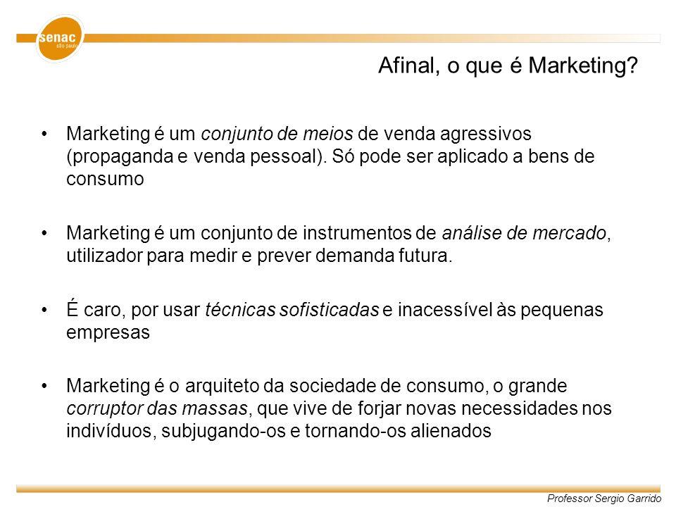 Afinal, o que é Marketing? Marketing é um conjunto de meios de venda agressivos (propaganda e venda pessoal). Só pode ser aplicado a bens de consumo M